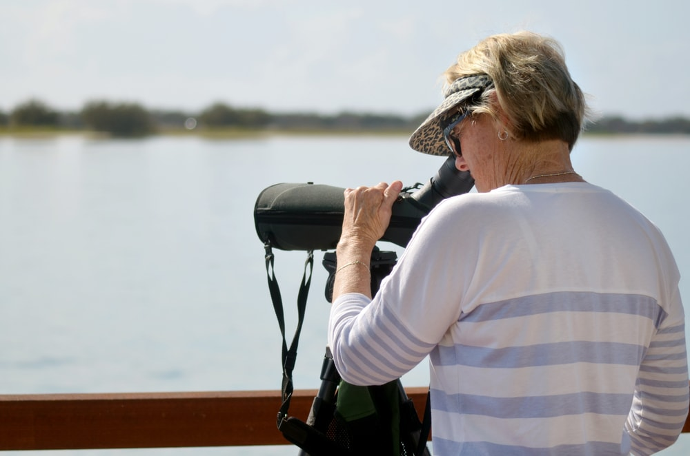 woman bird watching through a spotting scope